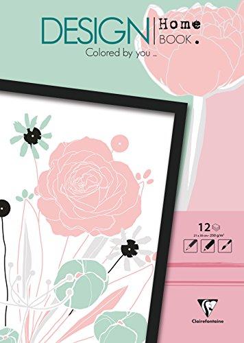 Clairefontaine 97446C - Un bloc de 12 feuilles de dessin prêt à colorier au format 21x30 cm, Design Home Book Fleurs