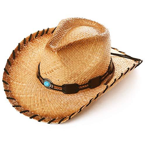 Comhats Unisex Western Outback Cowboy Cappello Cowgirl Naturale Paglia Estate Spiaggia Sole Cappello Shapeable Tesa w/Chin Strap 00728_beige Taglia unica