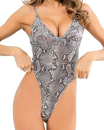 gagaopt Women Sexy Teddy Lingerie One Piece Lace Babydoll Deep V Neck Bodysuit