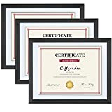 Giftgarden 8.5 x 11 Picture Frames with Mat Black Frame Set for Wall Mounting, 3 Pcs