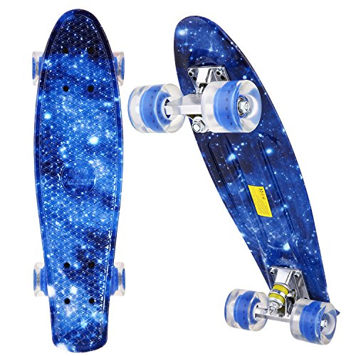 ANCHEER Skateboard - Mini Cruiser Board Complete, 22' Retro Plastic Skateboard, for Adult Teens Kids Boys Girls Age 5 Up