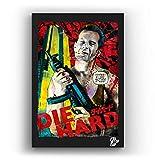 John Mcclane de la película Die Hard - Pintura Enmarcado Original, Imagen Pop-Art, Impresión Póster, Impresion en Lienzo, Cuadro, Cómics, Cartel de la Película