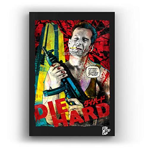 John Mcclane de la pelicula Die Hard - Pintura Enmarcado Original, Imagen Pop-Art, Impresion Poster, Impresion en Lienzo, Cuadro, Comics, Cartel de la Pelicula