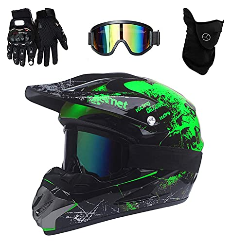 PKFG Mopedhelm Motocross Helm Herren, Serie HM-718 Motorradhelm Set Damen Fullface Motorrad DH Cross Offroad Enduro Mountainbike Helme mit Visier Brille Handschuhe Maske,Black Green XL