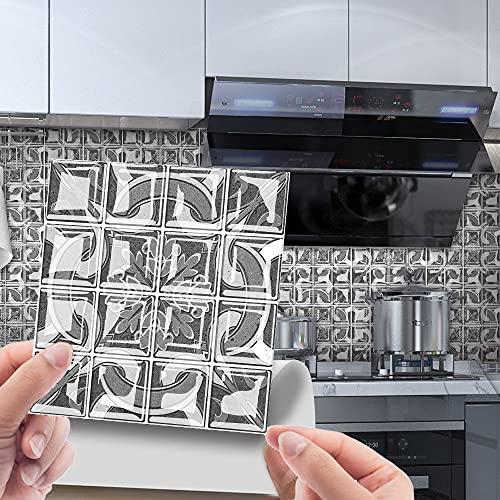 Hiser 30 Piezas Adhesivos Azulejos Pegatinas para Baldosas del Baño/Cocina Bohemia Impresión de Mosaico - Mármol Clásico Resistente al Agua Pegatina de Pared Decorativos (15x15cm,Gris)