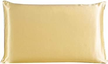 Dehman 100% Pure Mulberry Charmeuse Silky Satin Silk Pillowcase Pillow Case Cover for Hair & Skin 19 Momme (1Piece) (Golden, Queen Size, 20X30 INCHES)