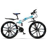 Klapp Mountainbike Faltbare Racing MTB Fahrrad 21 Gang Shifter Doppelscheibenbremsen Falten Reise Radfahren 26 Zoll Zehn Messer Reifen (Farbe: Weiß Blau)