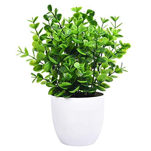 Sunm Boutique Künstliche Pflanzen Mini Kunststoff Eukalyptus Pflanzen Eukalyptus Topfpflanze gefälschte grüne Pflanze mit Topf für Büro Haus Garten Dekoration