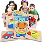 Shindel Wooden Jigsaw Puzzles for Toddlers 1 2 3 Years Old Boys Girls, Infant Kid Learning Educational 6PCS Puzzles Toys