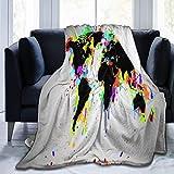 shenguang Manta Art Color World Map Black Land Throw Manta Ultra Soft Velvet Manta...