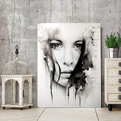 WXQHYD Wallpaper Paste Black And White Watercolor Portrait Wall Art Print Oil Painting Woman Face Inkjet Painting For Office Room Wall Decor Canvas Paintings (Size (Inch) : 50x65cm)