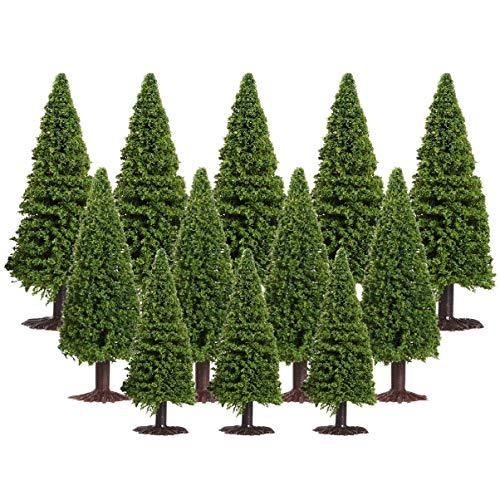 WINOMO 15 Stück Zedern Bäume Architektur Bäume Grüne Pflanze Landschaft Pflanzenmodell für Modellbahn DIY Handwerk Landschaft Landschaft Layout