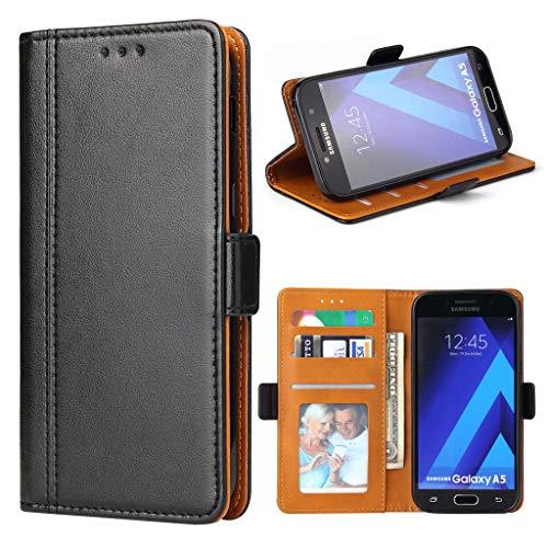 Bozon Galaxy A5 2017 Hülle, Leder Tasche Handyhülle für Samsung Galaxy A5 (2017) Schutzhülle Flip Wallet mit Ständer und Kartenfächer/Magnetic Closure (Schwarz)