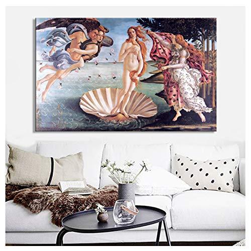 Chihie Klassisches berühmtes Gemälde Botticellis Geburt der Venus Poster Druck auf Leinwand Wandkunst Gemälde für Wohnzimmer Home Decor-50X75cm Rahmenlos
