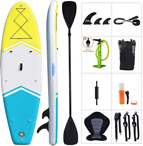 Zupapa 10'/11' Inflatable Stand Up Paddle Board with Kayak Convertible Seat and Premium SUP...