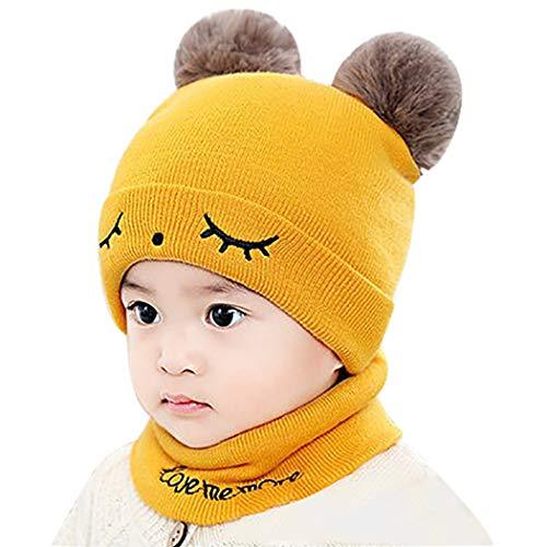 Fascigirl Sombrero De Lana Para Niños Pequeños Gorro De Punto Para Bebé Lindo Con Bufanda De Lazo Circular Gorro De Invierno Con Pompón Para Bebé
