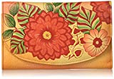 Anna by Anuschka Hand Painted Leather   Large Three Fold Checkbook Wallet/Clutch   Summer Bloom