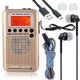 EXMAX EXD-737 Full Band Frequency Shortwave Radio Receiver Airband Portable Handheld Aircraft Digital Alarm Speaker Extend Antenna LCD Screen Orange Backlight Indoor & Outdoor Activities Home-Golden