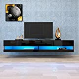 TRRAPLE Black TV Stand with LED Lights, Floating TV Stand Wall Mounted Media Console 80 Inch TV Stand with 20 Color LED Lights for Living Room