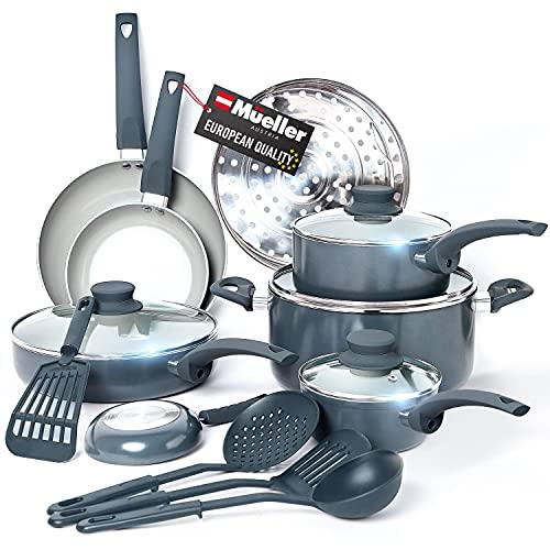 Mueller Pots and Pans Set Non-Stick, 16-Piece Healthy Stone Cookware Set Butter Warmer, Aluminum Body, Deep Fry, Fry Pan, Sauce Pan, Pot, Stainless Steel Steamer, Vac-Free Vented Glass Lids, Gray
