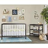 Dream On Me Ridgefield II 5-in-1 Convertible Crib in White with Wire Brushed Dark Espresso