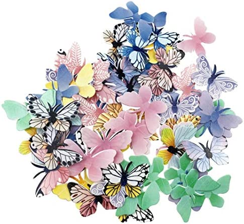 Set of 72 Edible Butterfly Cupcake Toppers Wedding Cake Birthday Party Food Decoration Mixed product image