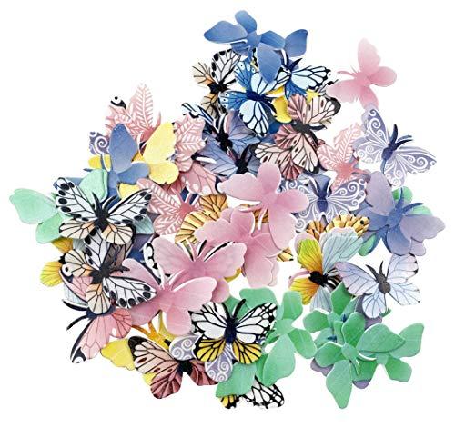 Juego de 72 adornos comestibles para magdalenas de mariposas, para bodas, fiestas de cumpleaños, decoración de alimentos, tamaño mixto y colou
