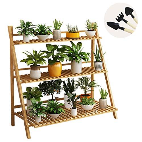 Support À Fleurs En Bambou Étagère Pliante Présentoir Pour Porte-échelle Pour Patio Intérieur Pelouse Jardin Balcon, 3 Niveaux