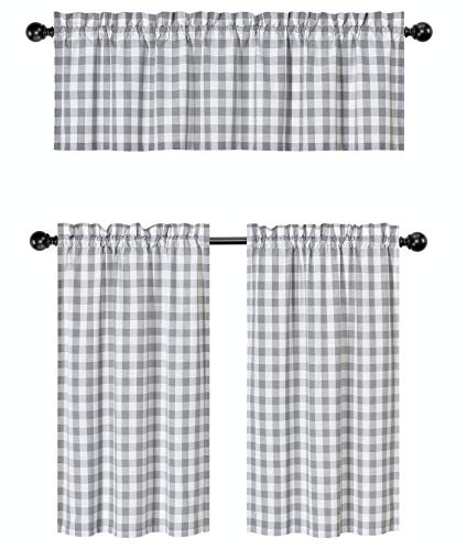3 Pc. Plaid Country Chic Cotton Blend Kitchen Curtain Tier & Valance Set - Assorted Colors (Grey)
