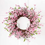 Collections Etc Spring Forsythia Floral Twig Door Wreath - Seasonal Door Accent for Any Room, Pink