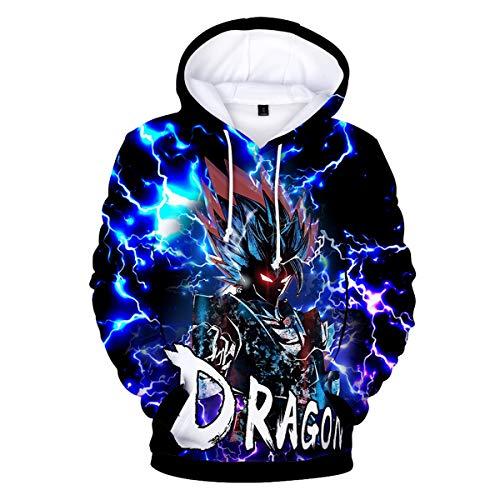 CIZEUR Boys Dragon Ball Hoodies Z Goku 3D Japanese Anime Print Pullover Sweatshirt with Cool Drawstring Long SleeveLightning 2XS