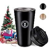 Jovego Tazza Termica, 500ml Tazza per Caffe da Viaggio, Tazza Caffe Portatile 304 Acciaio Inossidabile 100% Prova di perdite,Tazza di caffè Riutilizzabile Confezione Regalo Pacchetto, Senza BPA/Nero