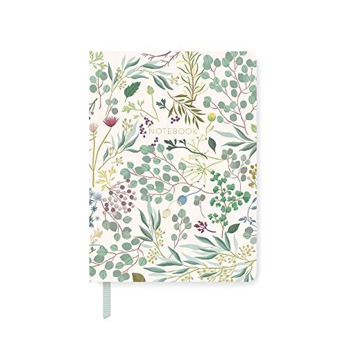 Fringe 969072 - Diario clásico de tapa blanda (208 páginas con rayas, 15,2 x 21,6 cm), diseño de hojas de eucalipto