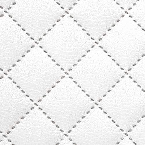 NOVELY® Soltau Kunstleder 3-LAGIG gesteppt kaschiert | gesteppter Volumen Polsterstoff | KARO Möbelstoff Premium | 1 lfm (17 Weiß)