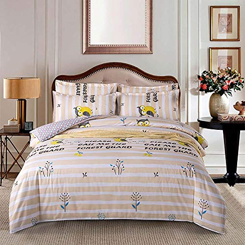 zhangshifa Bedding Set,Owl Printing Camel Stripe Duvet Cover Set Microfiber Soft,Aloe Cotton Quilt Cover (200 * 230Cm), Bed Sheet (230 * 230Cm), 2 Pcs Pillowcase (48 * 74Cm)