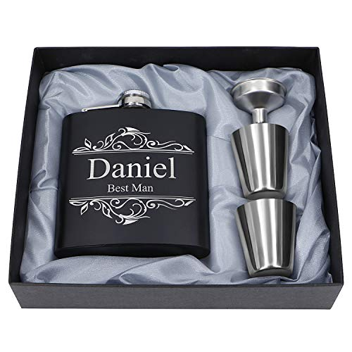 Customized Flask Set- Personalized Hip Flasks, Husband Gift- Stainless Steel with Leather Flask Gifts For Men, Wedding Favor Customized Wedding, Boyfriend Man Hip Gift Set (Customized)