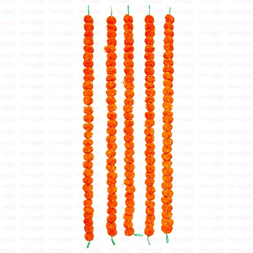 TIED RIBBONS (Pack Of 5 Artificial Marigold Fluffy Flowers String Garlands Toran (4.5 Ft.) - Home Door Wall Hanging Decorative Flower String