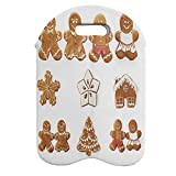 Ambesonne Gingerbread Man Wine Bottle Carrier, Vivid Christmas Gingerbread Biscuits Set Snowflake House Tree, Portable Neoprene Bag for Champagne and Water Bottles, 2 Bottles, Pale Brown White