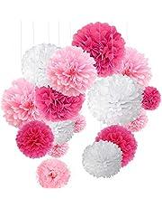 O-Kinee 24 rosa dekoration sidenpapper pompons för bröllop, dop flicka, födelsedag, fest, nattvardsgång, alla hjärtans dag mors dag JGA dekor vit rosa
