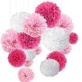 O-Kinee Pompon di Carta Rosa, 24 pz Paper Flower Ball Kit, Decorazioni per Matrimonio Festa di Compleanno Decorazione