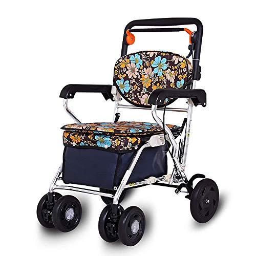 Z-SEAT Rollator Walker mit Sitz, Klappbeweglichkeit Rolling Walker mit 4 Rädern, Handlaufhöhe einstellbar für Senioren Einkaufen, Reisen
