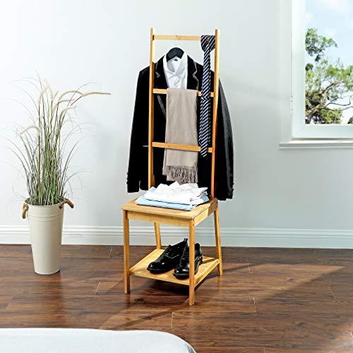 Dressboy van bamboe hout - Kledingstandaard met zitting en rekken - Biedt plaats aan schoenen, blouse en broeken - Voor badkamer, slaapkamer en walk-in closet - Decopatent