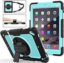 iPad 9.7 Case for Kids | SIBEITU iPad Air 2 Case with Screen Protector Pencil Holder | Hard Rugged Shockproof Protective Cover w/ Stand Handle Shoulder Strap for iPad Case 9.7 6th Gen Cases SkyBlue