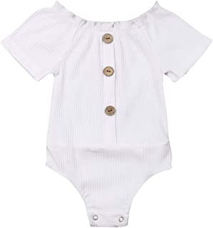Newborn Infant Baby Girl Solid Off Shoulder Short Sleeve Button Bodysuit Romper One Piece Jumpsuit Outfits Clothes