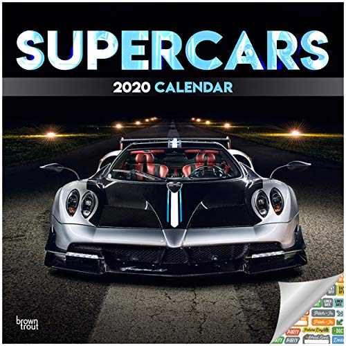 Supercars Calendar 2020 Exotic Cars Wall Calendar Bundle with Over 100 Calendar Stickers