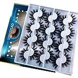 HBZGTLAD 12 pairs 3D Mink Lashes Natural False Eyelashes Dramatic Volume Fake Lashes Makeup Eyelash Extension Silk Eyelashes (C-13)