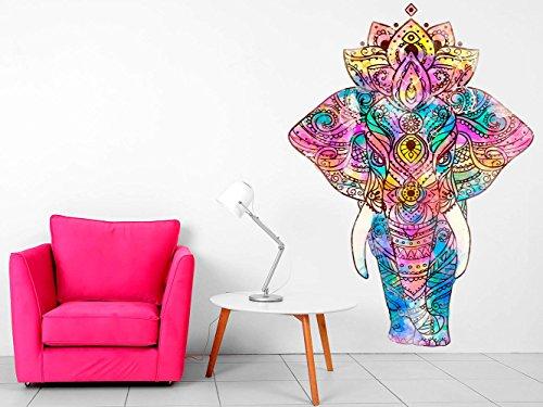Vinilo Decorativo Pared Mandala Elefante   Varias Medidas 70x100cm   Multicolor   Pegatina Adhesiva Decorativa de Diseño Elegante