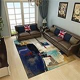 Alfombra Habitación Matrimonio Fácil De Limpiar Estilo Europeo Petróleo Pintura Pintura Abstracto Diseño Azul Gris Marrón Habitacion Comedor Pasillo para Mesa Pie De Cama Jarapas 80X160cm