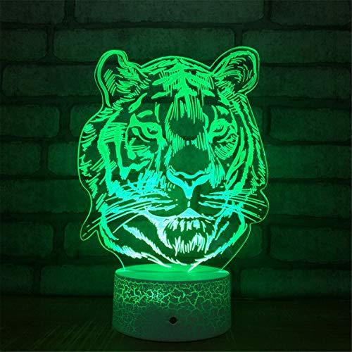 Lámpara de ilusión óptica 3D de tigre, 7 colores, interruptor táctil, ilusión, luz nocturna, para dormitorio, hogar, decoración, boda, cumpleaños, Navidad, regalo de San Valentín