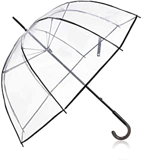 Auto Open Clear Bubble Umbrella,Clear Umbrella Bulk Wedding Windproof, Transparent Clear Dome Umbrella with Color Trim for Women and Kids (Clear)